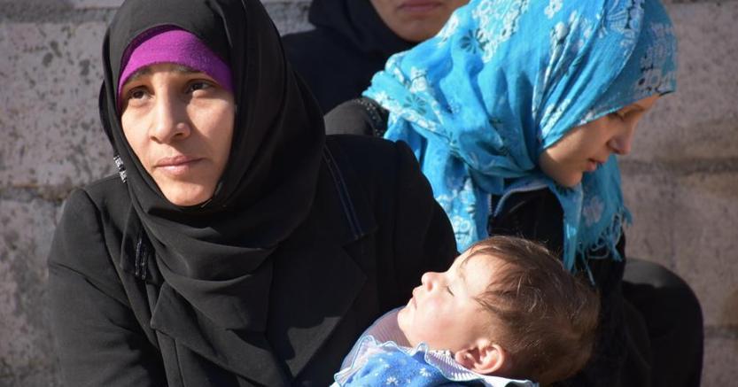 Una famiglia sfollata ad Aleppo